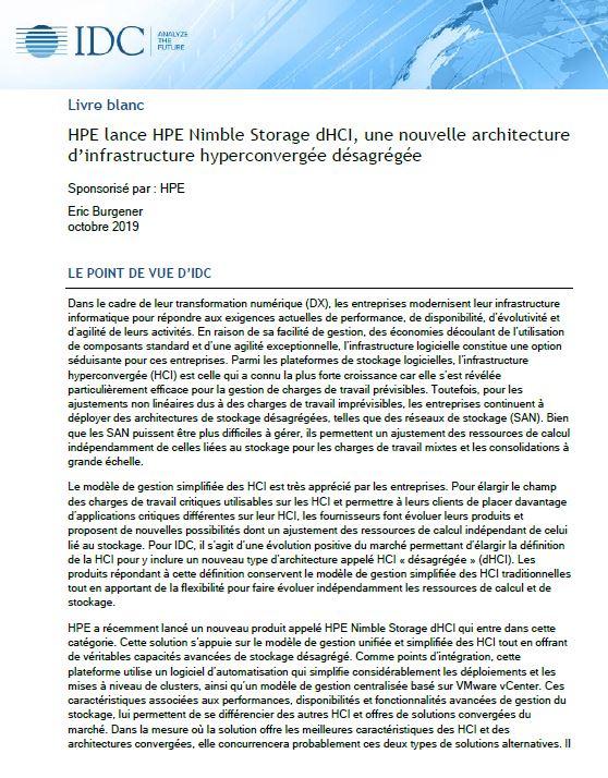 HPE lance HPE Nimble Storage dHCI, une nouvelle architecture d'infrastructure hyperconvergée désagrégée