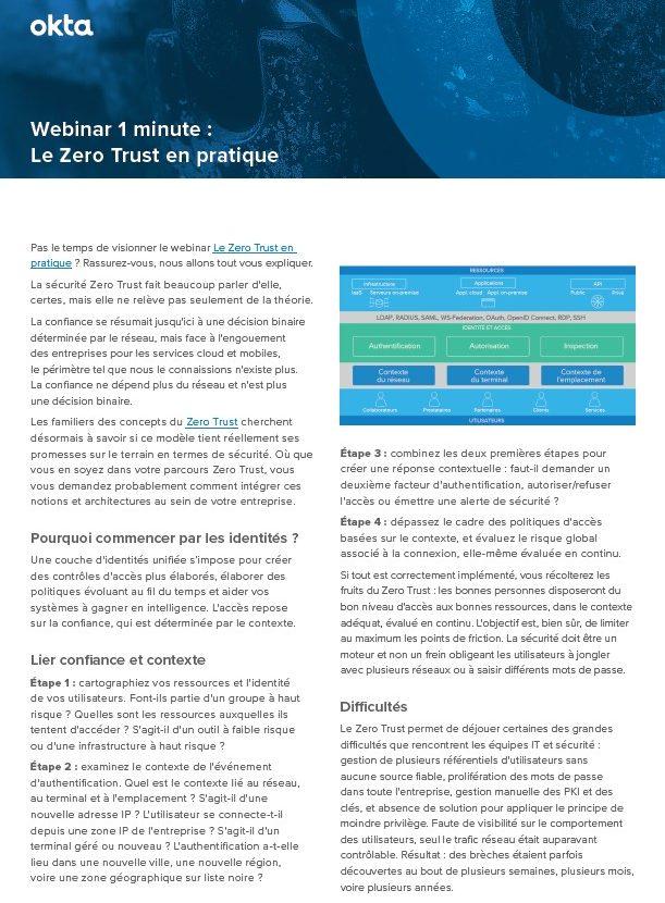 Webinar 1 minute : Le Zero Trust en pratique