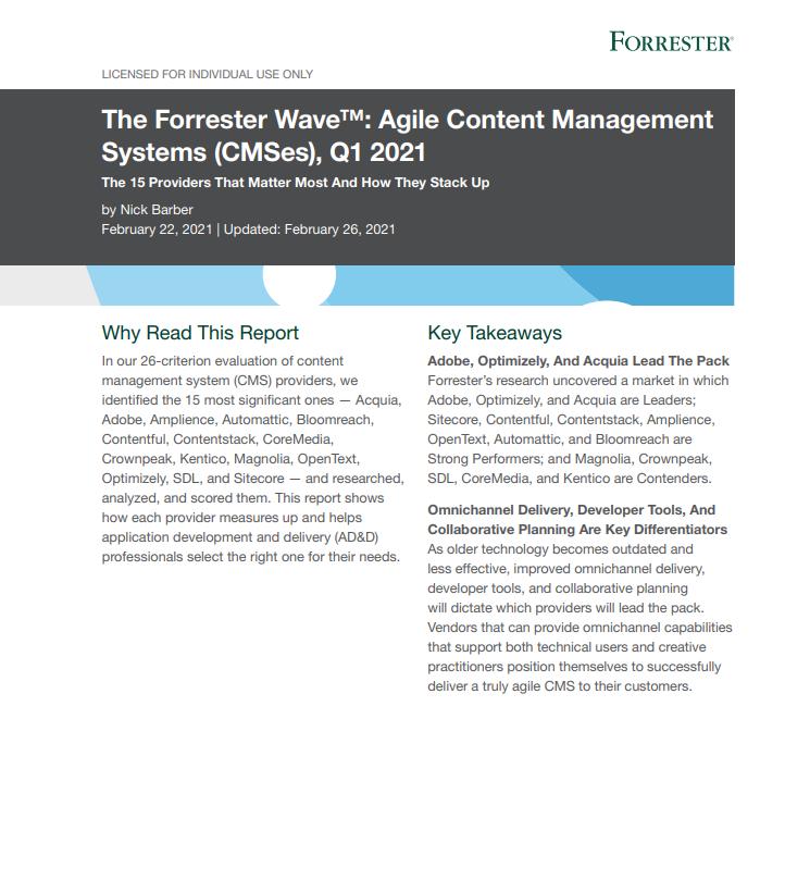 The Forrester Wave™ : Systèmes agiles de gestion de contenu (CMS), Q1 2021