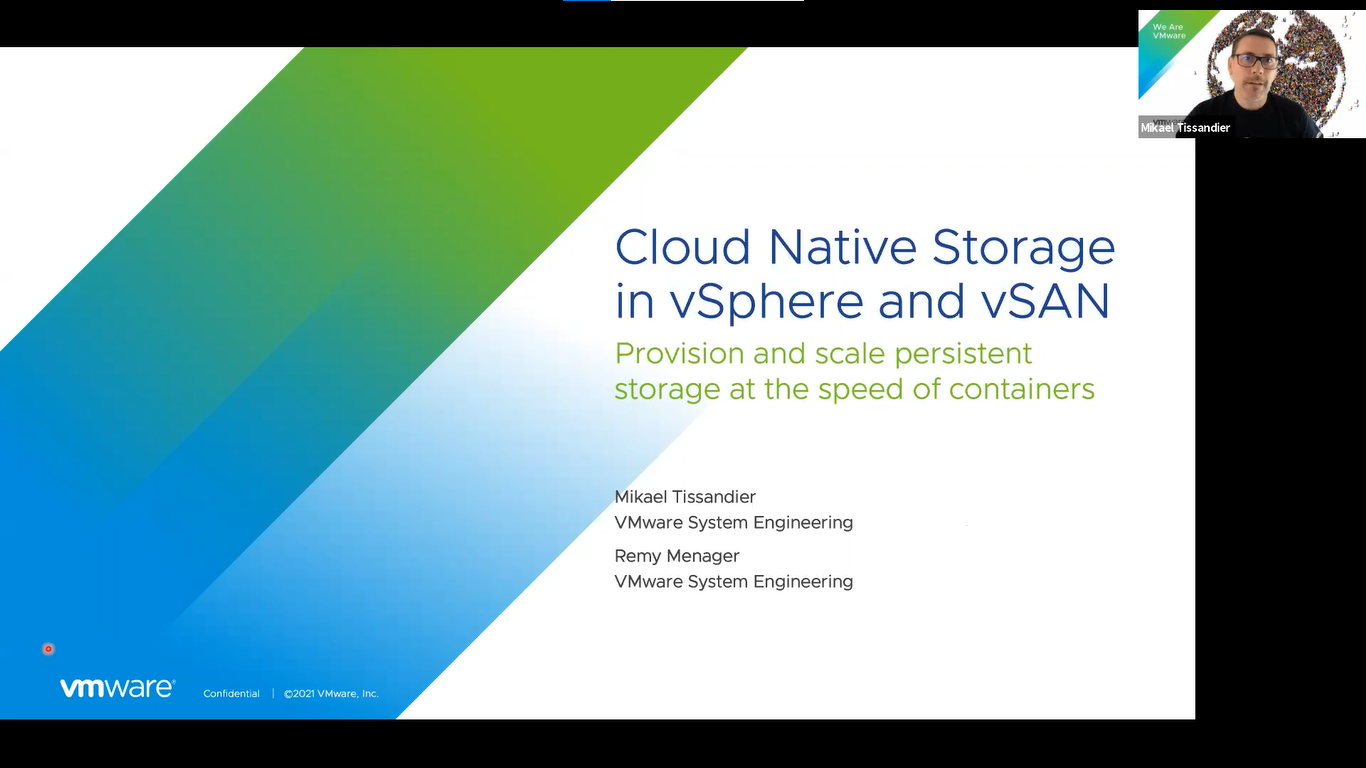 Le stockage Cloud natif dans vSphere et vSAN : provisionner et faire évoluer le stockage persistant à la vitesse des conteneurs