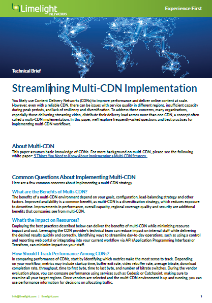 L'implémentation du streaming Multi-CDN