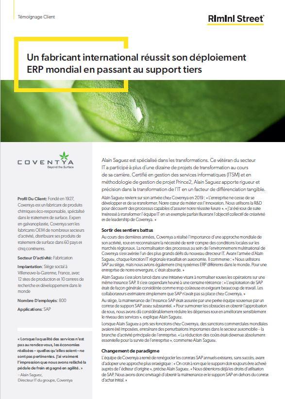Un fabricant international réussit son déploiement ERP mondial en passant au support tiers.
