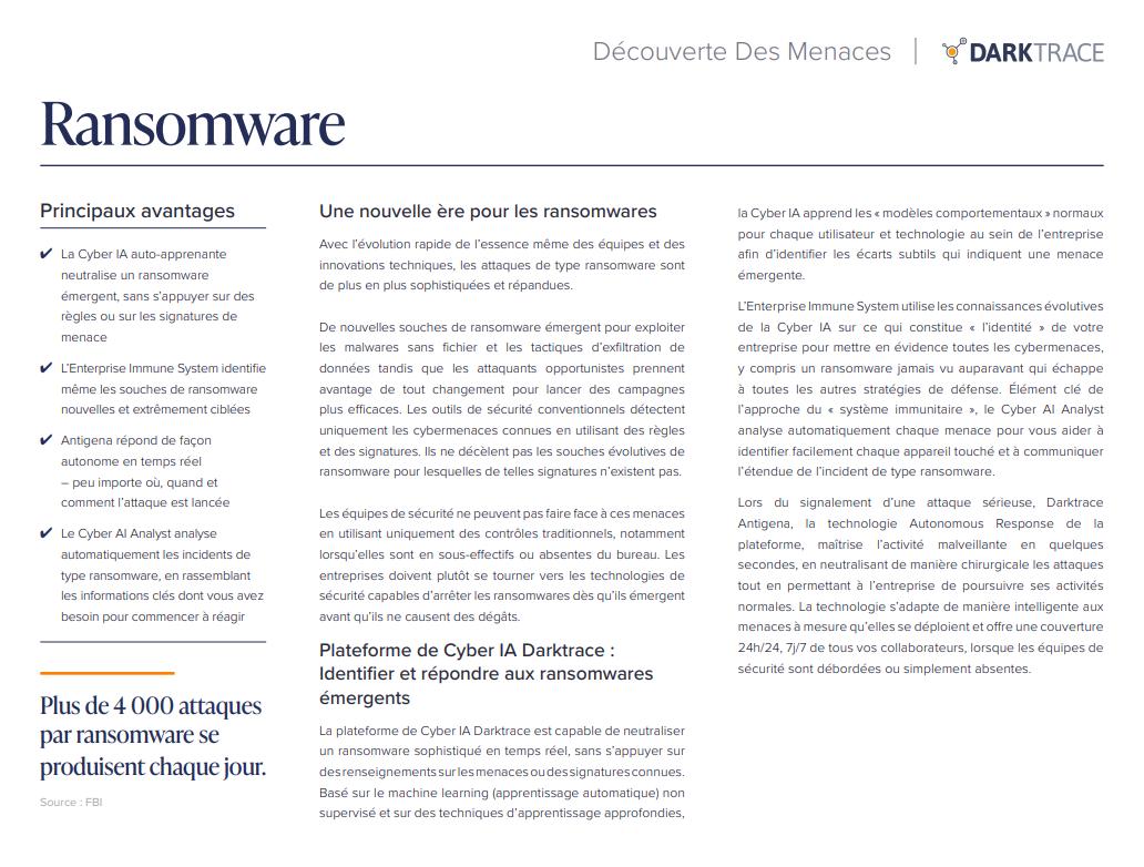 Découverte des menaces : Ransomware